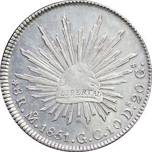Mexico 8 Reales Mo 1851 G.C. Mexico Mint, Original luster. KM# 377.10
