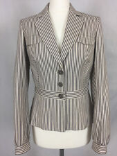 Women's REISS fitted striped blazer jacket. Grey/pink/cream. UK M. Ex-cond.