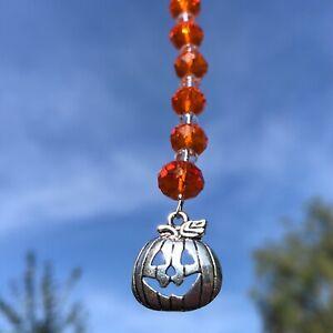 New Halloween Pumpkin Hanging Sun Catcher ~ Orange Glass Beads ~ Car Charm