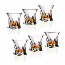 Crystal Glass Rocks Set of 6 Whiskey Tumblers 10 oz  Water Vodka Czech Bohemia