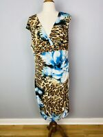 New LOVERS Women's animal print Plus Size Maxi Dress V - neck Size 16