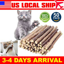 50 PCS Matatabi Cat Catnip Sticks Chew Stick Dental Cleaning Organic Silver Vine