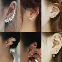 Cartílago Plata Oro Pendientes Aretes Ear Cuff Clip Oreja Cristal Joyería Mujer