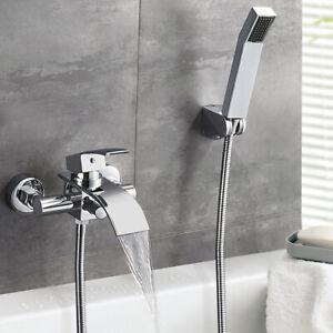Badewannenarmatur Set Wasserfall Wannenarmatur mit Handbrasue Badarmatur Dusche