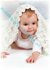 Knitting Pattern -Lace Stitch Baby Cot/Pram Cover/Blanket P0125