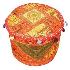 Indian Bohemian Mirrored Ottoman Embroidered Patchwork Pouf Cover Round Cotton