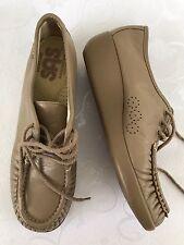 Women's SaS Comfort Shoes Size 7 1/2 N Mocha Bounce Moccasin Mini Wedges Laces