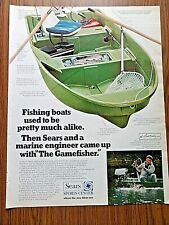 """1970 Sears Fishing Boats Ad Baseball's Ted Williams  """"The Gamefisher"""""""