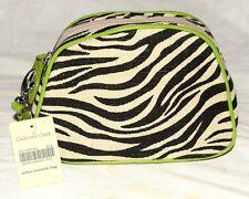 Coldwater Creek Zebra Print Linen & Cotton with Lime Faux Leather Wristlet NWT