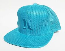 HURLEY MESHER TRUCKER Snapback Hat Cyan Blue OSFA NEW All-Mesh Skate Surf Cap