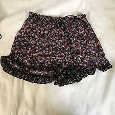 Soprano Women Junior Floral Ruffle Trim Shorts P1846VAL /Pink Black /X Small.