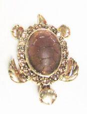 Vintage 60's Turtle Tortuse Amber Bead Glass Crystal Rhinestone Pin Brooch
