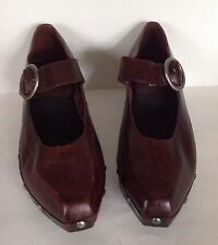 Woman's Pina Colada  Clog Shoes Mary Janes Square Toe Vintage Leather 1970's