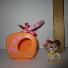 #58 Caramel Brown Collie Littlest Pet Shop Dog Hasbro Authentic Case Collar Bow