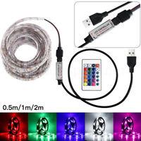 50-200CM USB LED Strip Light TV Back Lamp 5050RGB Colour Changing+Remote Control