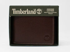 Timberland Genuine Pebble Leather Removable Passcase Wallet Brown