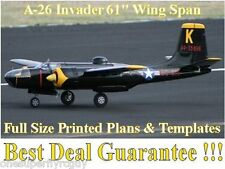 """A-26 Invader 61"""" WS Giant Scale RC Airplane Full Size PRINTED Plans & Templates"""