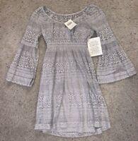 NWT Women's Boston Proper Gray Crochet Casual Flare Sleeve Dress Size 4 Pebble