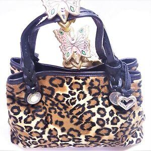 Brighton Cheetah Leopard Satchel Tote Black Braided Leather Bag Purse