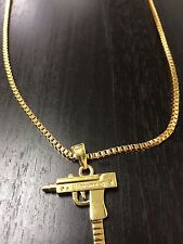 SUPREME Necklace Gold Uzi Gun Pendant Chain UK SELLER *New*