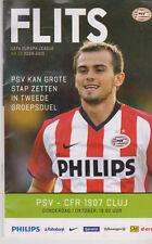 Programme / Programma PSV Eindhoven v CFR 1907 Cluj 01-10-2009 UEFA EL