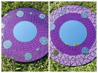 Mosaic Mirror Glass Wall Hanging Fair Trade Star Sun Design Purple