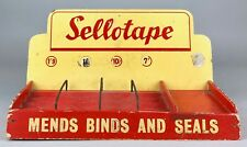 VINTAGE -SELLOTAPE, MENDS BINDS & SEALS- SHOP COUNTER ADVERT DISPLAY STAND SIGN