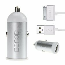 2in1 Ladeset USB Auto Lade Gerät Adapter 30pin Kabel iPhone 4 4S iPod Weiß