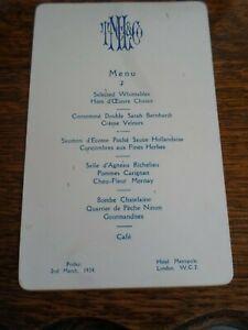 LONDON, Hotel Metropole Menu Card Friday 2nd March, 1934 -   §DJ178