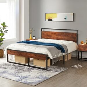 Metal Platform Bed Frame with High Wooden Headboard and Footboard Mahogany