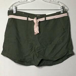 Loft Shorts 6 Green Original Straight Through Hip Thigh Pink Ribbon Cuff NWT $45