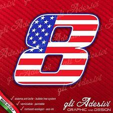 Adesivo Stickers NUMERO 8 moto auto cross gara USA Star & Stripes 5 cm