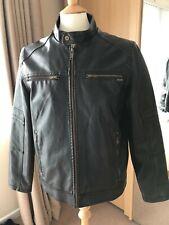 Vintage GUESS Black Faux Leather Zip Front Motorcycle Biker Jacket M Medium