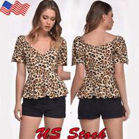 Women Short Sleeve Leopard Print Top V-Neck Autumn Casual T-Shirt Blouse Tee US