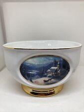 Thomas Kinkade \u201cSunday Evening Sleigh Ride\u201d Large Bowl Teleflora Gift,Porcelain Fruit Bowl with gold rim and base,