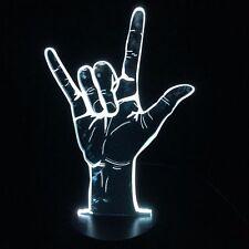 3D Optical Illusion I Love You Sign Language LED Hologram Night Light USB