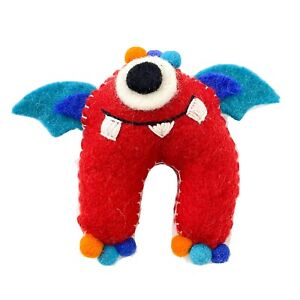 Tooth Fairy Toy - Red Munch Monster with Wings Hand Felted  - Fair Trade Nepal