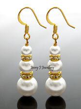 Dangle White Swarovski Pearls Drop Earrings Gold Plate