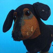 SELTEN Steiff Nachzieh-Spielzeug Hund Filz Dackel Metallräder 32 cm Giengen~1910