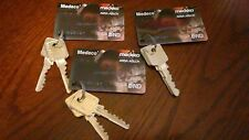 Qty.3 Medeco M3 6 PIN CARDS WITH TWO FACTORY CUT KEYS EACH FOR MEDECO LOCK Rekey