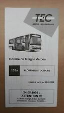 ► TEC Namur, 1 guide horaire ligne 138a, Florennes - Doische
