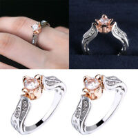 Women's Crystal Zircon Rings Silver Rose Flowers Ring Wedding Party Jewelry Gift