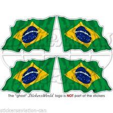 "BRAZIL Brazilian Waving Flag Brasil Bumper-Helmet Decals Stickers 2"" (50mm) x4"