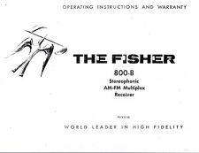 Fisher Manuel d'Utilisation User Manual Owners Manual pour 800-B
