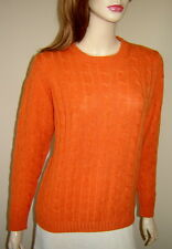 JOHNSTONS Orange Spice 100% Cashmere Cable Knit Crewneck Sweater (L) Scotland
