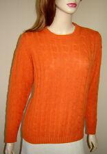 JOHNSTONS Orange Spice 100% Cashmere Cable Knit Crewneck Sweater (L) Scotland