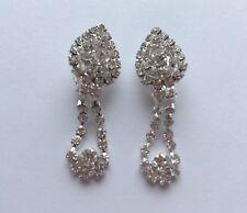 Silver Diamante Long Dangle Teardrop Clip On Earrings Crystal Non Pierce UK E149