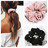 Haargummi Samt Haarband Satin Zopfband Zopfgummi XL Scrunchie Frottee Perlen ♥