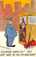 Postcard Greeting Humorous Funny Telephone Booth Outhouse Hillbilly Cop Cartoon