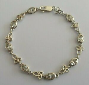 """Silver Celtic Infinity bracelet set with cubic zirconia, approx. 20.3 cm (8"""")"""